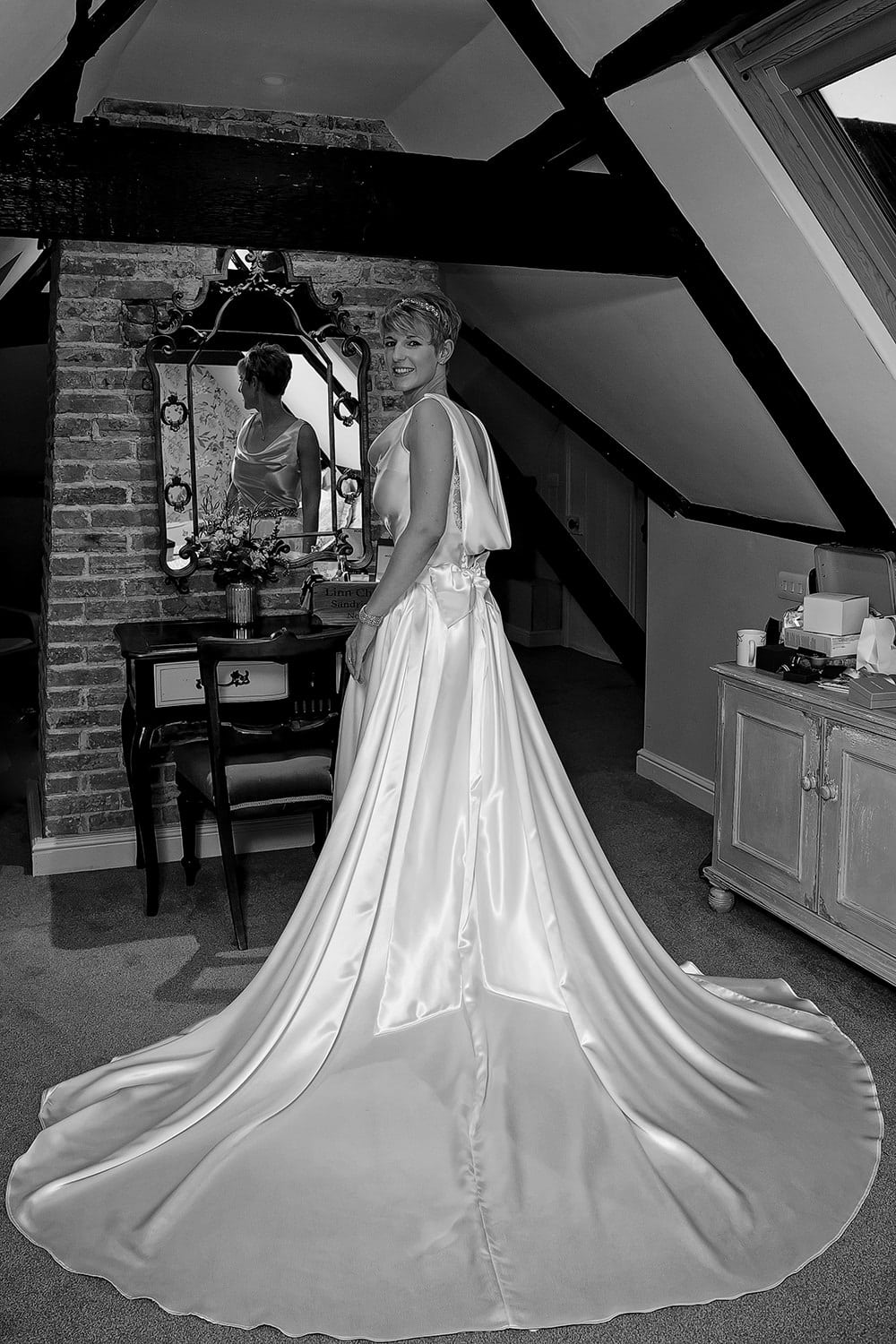 Bride getting ready at Sedgeford Hall
